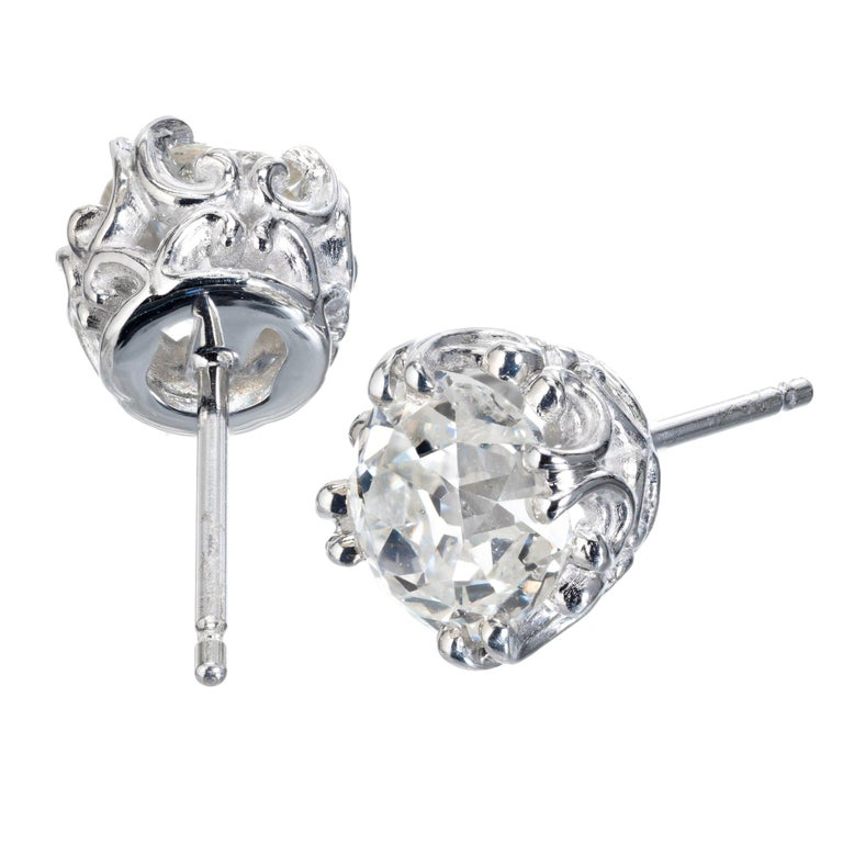 Peter Suchy GIA Certified 1.80 Carat Platinum Stud Earrings For Sale