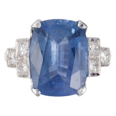 GIA Certified 5.74 Carat Sapphire Diamond Platinum Engagement Ring