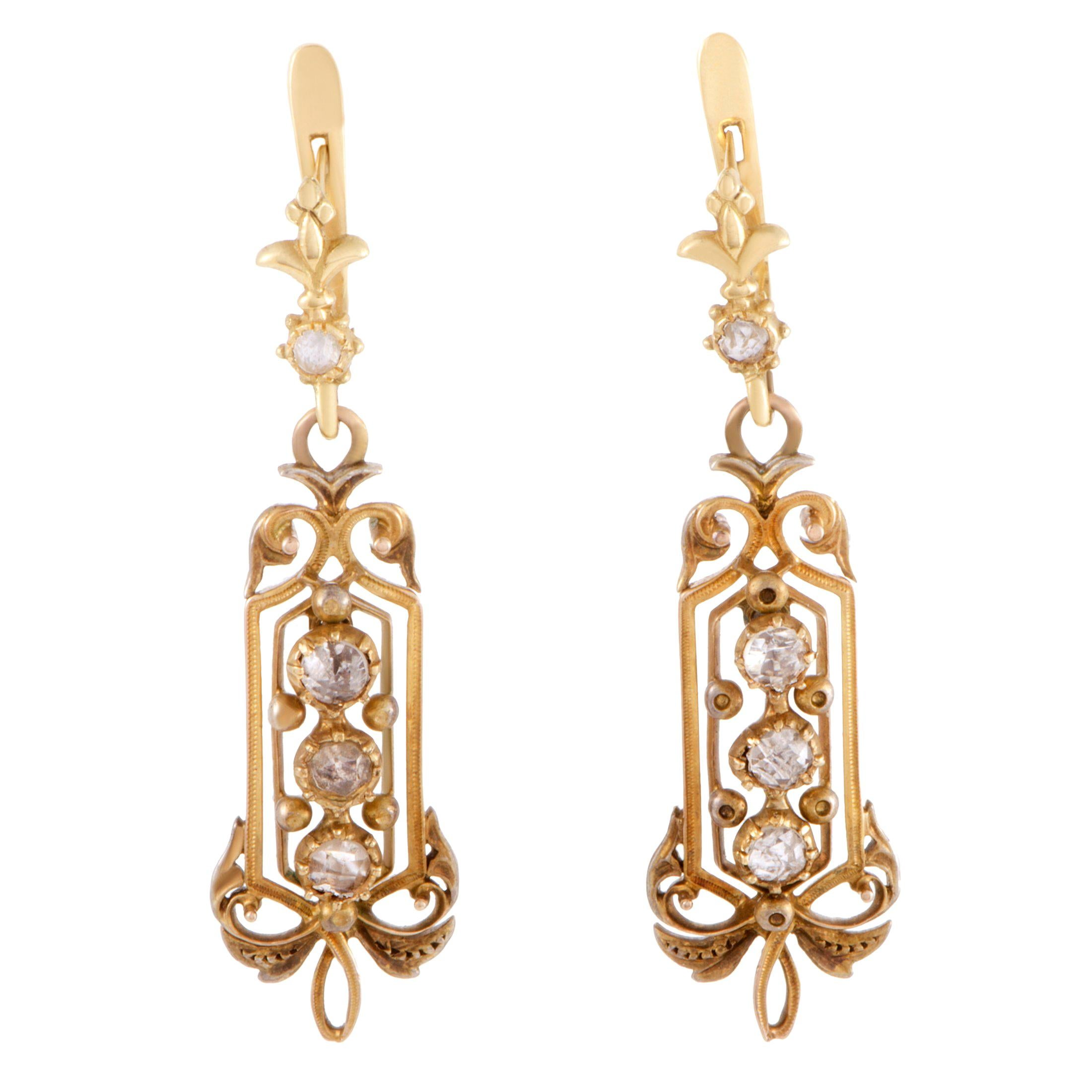 Diamond Yellow Gold Dangle Earrings