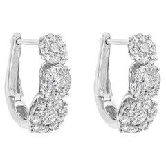 Cluster Diamond Three-Stone Hoop Earrings