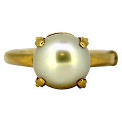 Vintage 18 Karat Gold Ladies Ring with Natural Freshwater Pearl, circa 1970s
