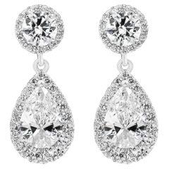Pear Shape Diamond Halo Drop Earrings