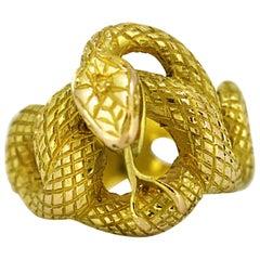 Antique French Art Deco 18 Karat Gold Snake Ring, circa 1920s