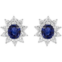 Roman Malakov, Cushion Cut Blue Sapphire Halo Omega Clip Earrings