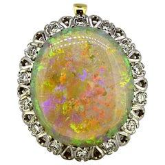 18 Karat Gold Pendant with Natural Opal and Diamonds, circa 1980s-1990s