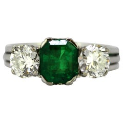 Vintage 14 Karat Gold Ladies Ring with Natural Emerald and Diamonds, circa 1950