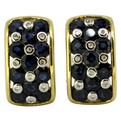 Vintage 14 Karat Gold Ladies Clip-On Earrings with Blue Sapphries and Diamonds