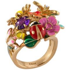 Christian Dior 18 Karat Good Diorette Medium Model Amethyst and Diamond Flower