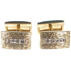 Tiffany & Co. Yellow Gold and Square Cut Diamond Cufflinks