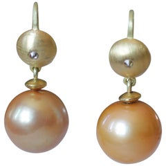 Golden South Sea Pearls Diamond 22 Karat Gold Contemporary Drop Dangle Earrings