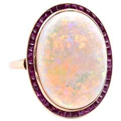 14 Karat Yellow Gold Opal and Ruby Ring