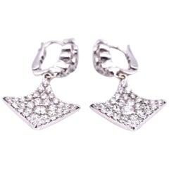 18 Karat White Gold Diamond Kite Drop Earrings