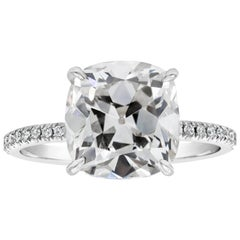 GIA Certified Cushion Old Mine Cut Diamond Pave Engagement Ring