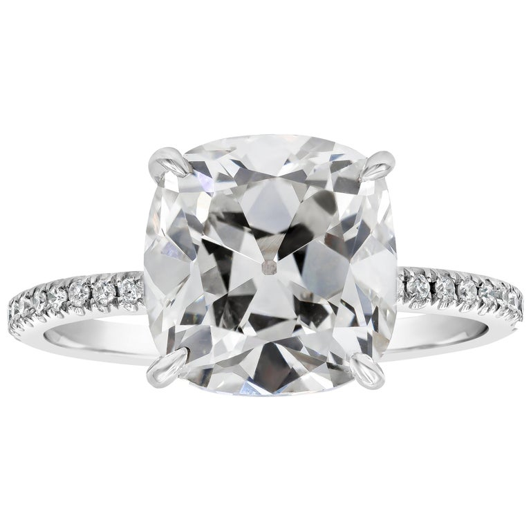 GIA Certified Cushion Old Mine Cut Diamond Pave Engagement Ring For Sale