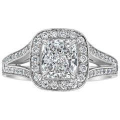 GIA Certified Cushion Cut Diamond Halo Engagement Ring