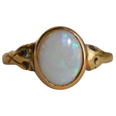 Antique Victorian 18 Karat Gold 1.86 Carat Opal Signet Ring