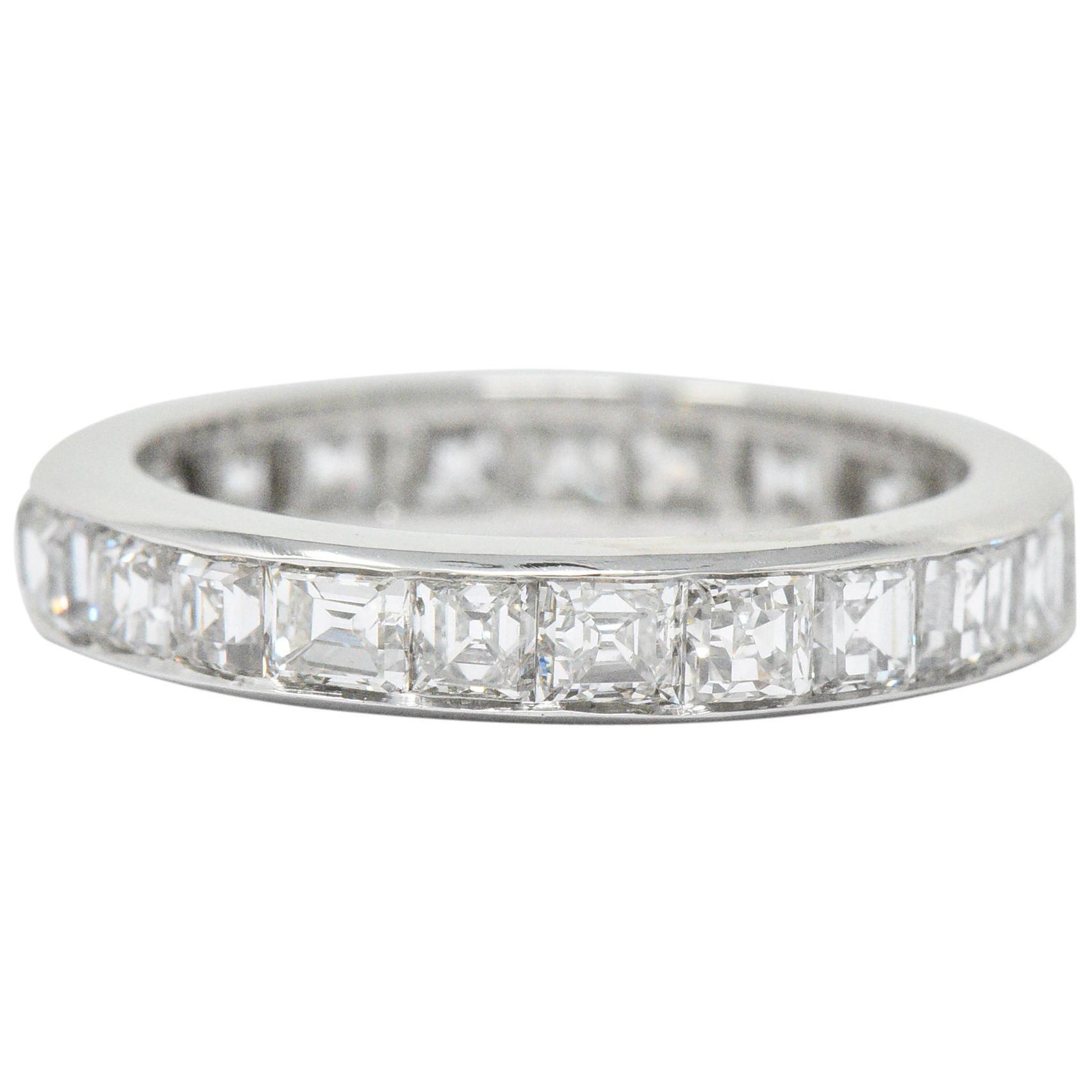 1950's Midcentury 4.14 Carats Asscher Diamond Platinum Eternity Band Ring