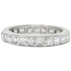 Midcentury Retro 4.14 Carat Asscher Cut Diamond Platinum Eternity Band Ring