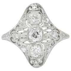 Art Deco 0.93 Carat Old European Cut Diamond Platinum Dinner Ring