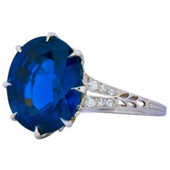 Belle Époque 6.78 Carat Sapphire Diamond Platinum Ring AGL Certified