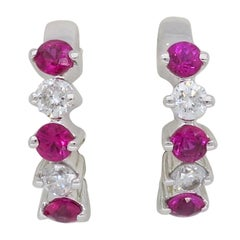 Ruby and Diamond Huggie Hoop Earrings