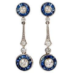 Blue Sapphire Diamond Dangle Drop Platinum Earrings