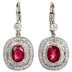 Ruby Diamond 18 Karat Gold French Lever Back Drop Earrings