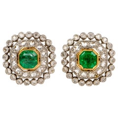 Vintage Emerald Diamond Platinum Stud Earrings