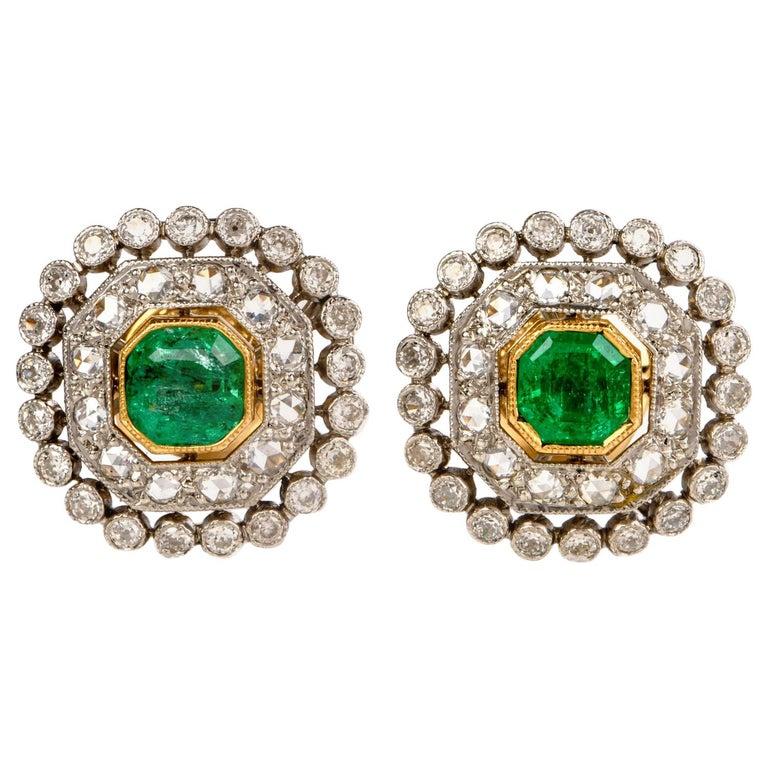 Vintage Emerald Diamond Platinum Stud Earrings For Sale