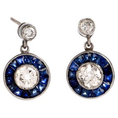 Art Deco Style Sapphire Diamond Platinum Stud Drop Earrings