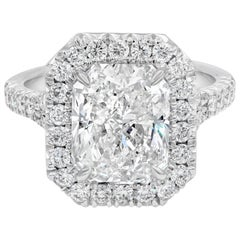 GIA Certified Radiant Cut Diamond Halo Engagement Ring