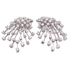 Stefan Hafner 18 Karat White Gold Diamond Spray Earrings