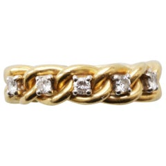 Gold and Diamond Chain Ring