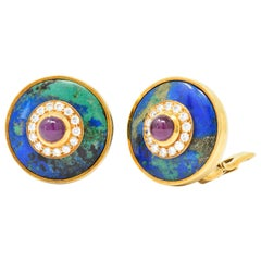 David Webb 2.20 Carat Ruby Diamond Azurmalachite 18 Karat Gold Ear Clip Earrings