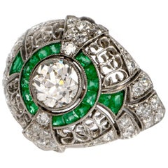 Edwardian Style Emerald Diamond Platinum Dome Engagement Ring