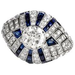 Vintage European Diamond Sapphire Cocktail  Domed Ring