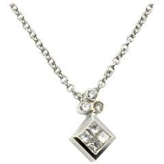 Diamant-Cluster, Prinzessinenschliff, Anhänger an Kette, 14 Karat Weißgold