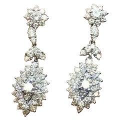 14 Karat Gold, 4,00 Karat F VS Diamant, Tropfenanhänger, Ohrringe