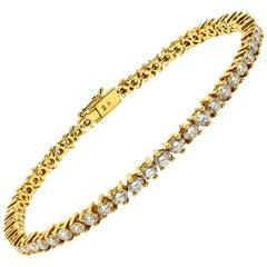 Diamond In-Line Tennis Bracelet 18 Karat Yellow Gold