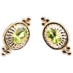 14 Karat Yellow Gold Vintage Peridot Earrings