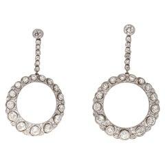 Art Deco Style Diamond Platinum Earrings