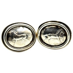Kieselstein Cord Sterling Silver Equine Button Clip Earrings