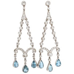 Art Deco Revival Aquamarine Diamond Platinum Earrings