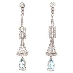 Art Deco Revival Aquamarine Diamond Platinum Earrings