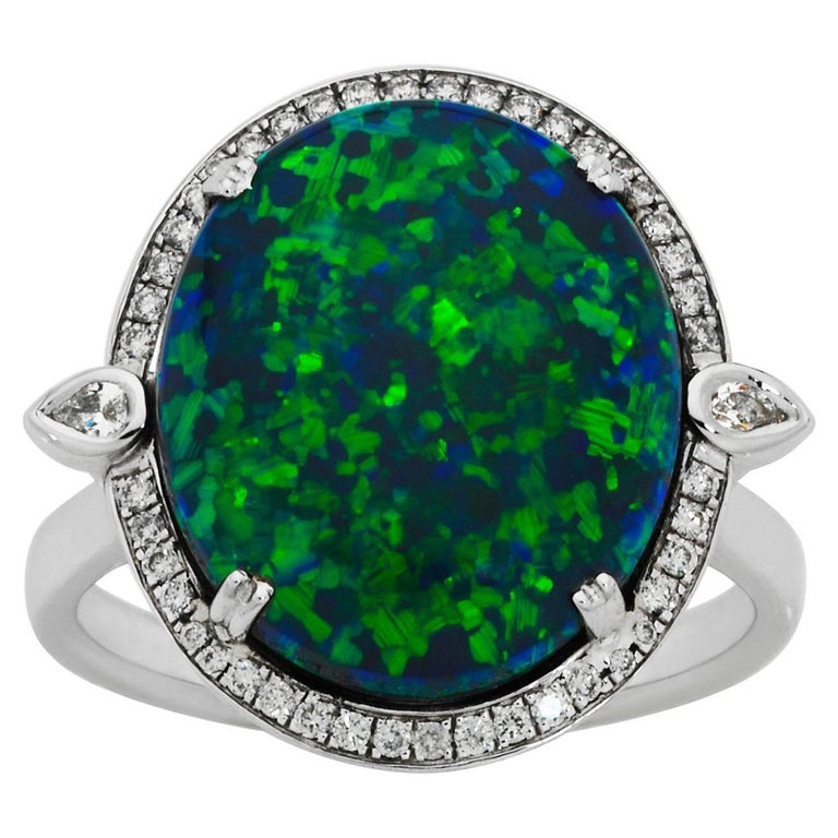 Giulians 18K 6.76ct Australian Black Opal and Diamond Halo Ring  For Sale
