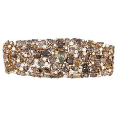 Over 81 Carat of Fancy Cut Brown and Yellow Diamond Bracelet, Set in 18 Karat