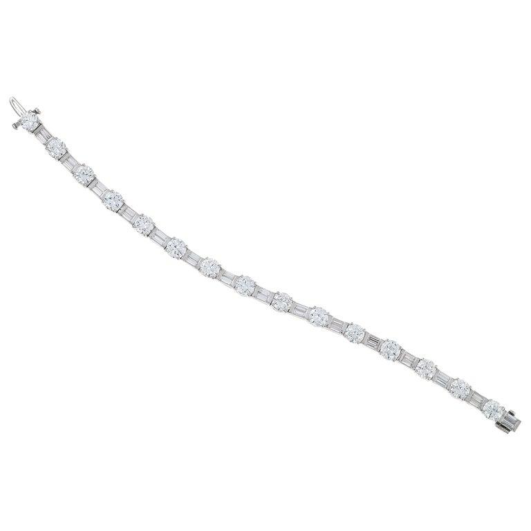 12 Carat Mixed Shape Straight Line Tennis Bracelet, Platinum For Sale