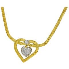 Gianmaria Buccellati Diamond Heart 18 Karat Yellow Gold White Gold Necklace