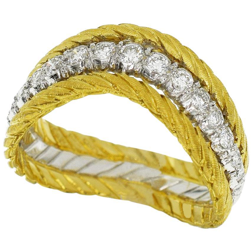 Gianmaria Buccellati Diamond 18 Karat Yellow Gold White Gold Ring US 6