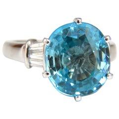 7.66 Carat Natural Indigo Blue Zircon Diamonds Ring 14 Karat